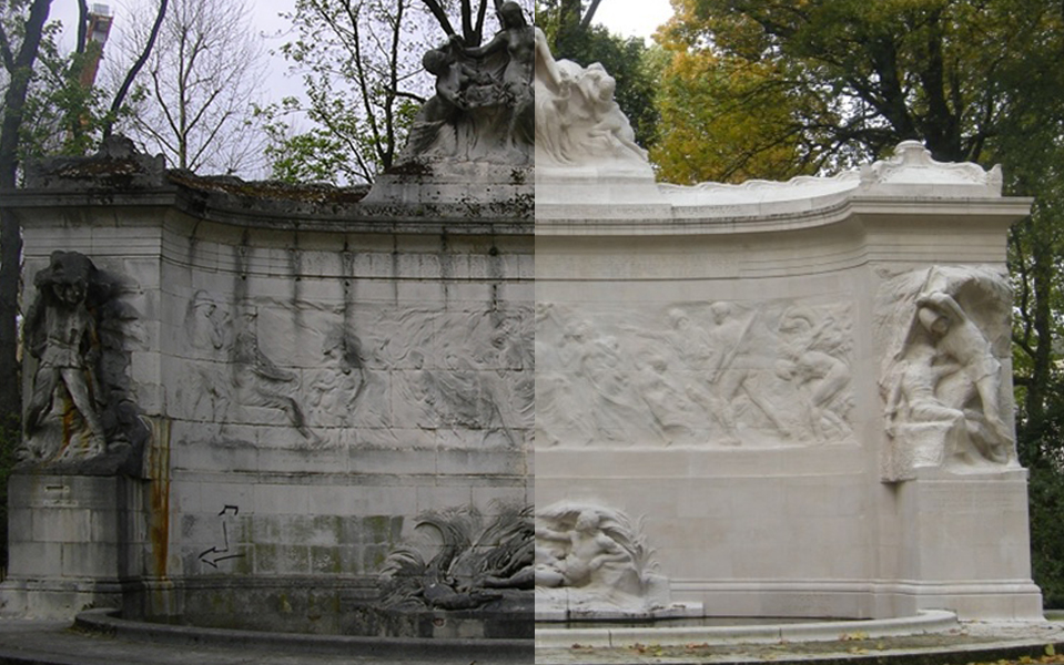 Restauration of colonial monument in the Jubelpark, Bruxelles. Left: 2008 — Right: 2014